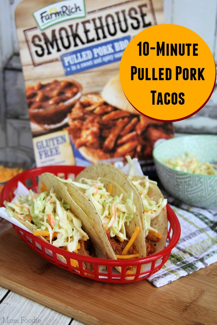 10 Minute Pulled Pork Tacos with Quick Slaw