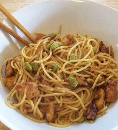 Chicken and Edamame Asian Noodles : Quick & Easy Recipe