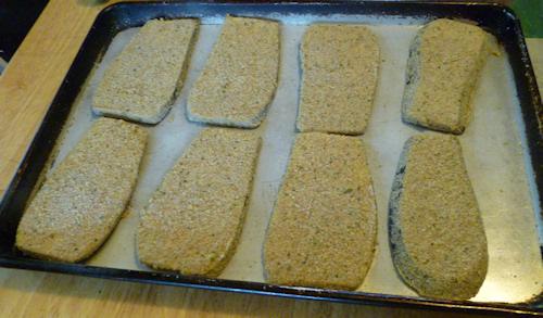 baking breaded eggplant
