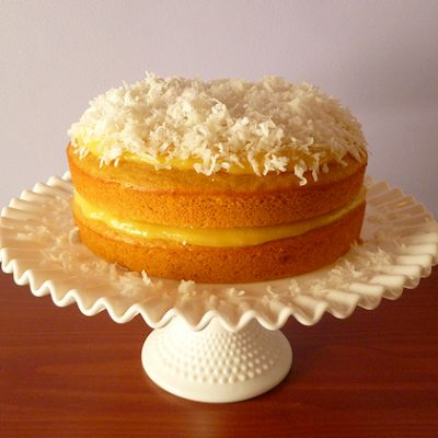 cantaloupe cake with citrus curd and coconut