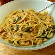 chicken spinach and cannellini bean pasta