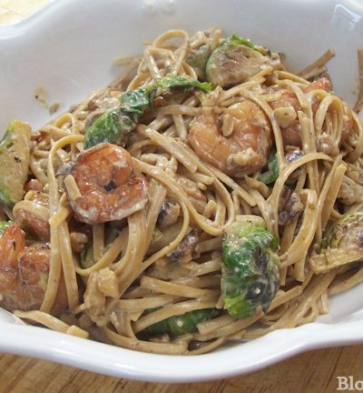 shrimp brussel sprout walnut cream sauce pasta