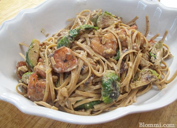 shrimp brussel sprout walnut cream sauce pasta
