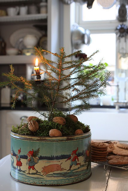small tree in vintage tin