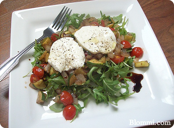 warm italian salad with mozzarella