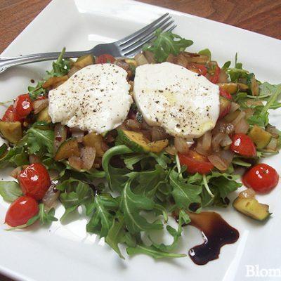 warm Italian vegetable salad with fresh mozzarella recipe