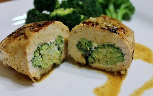 light cheese and brocolli stuffed chicken recipe