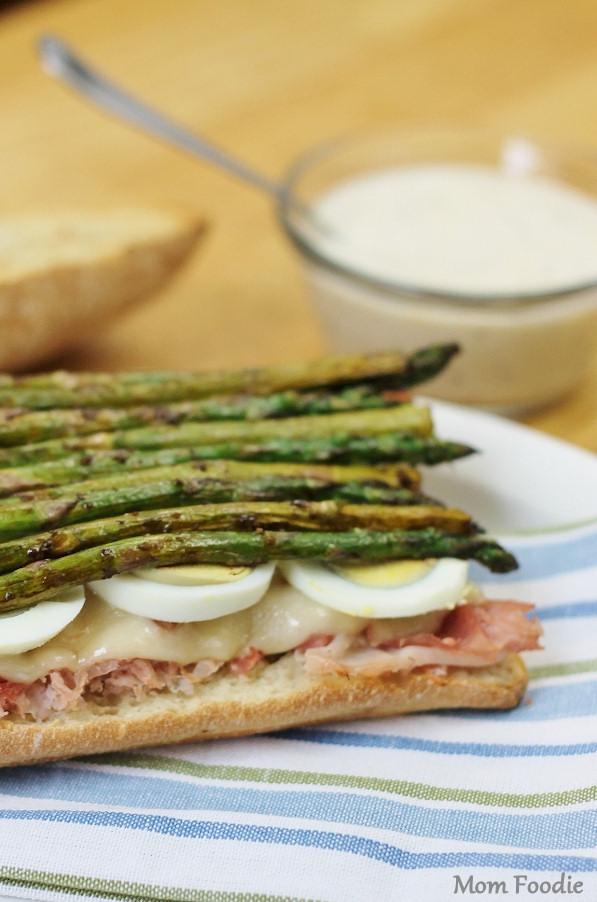 Easter Sandwich - ham egg asparagus ciabatta with horseradish buttermilk mustard sauce