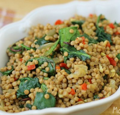 Whole Wheat Pearl Couscous with Red Pepper, Sweet Onion and Spinach