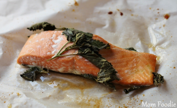 lemon balm honey salmon in parchment