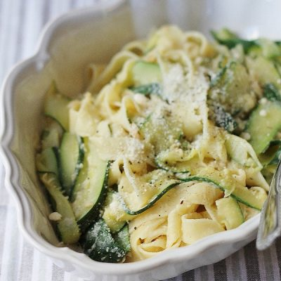 zucchini pappardelle with garlic cannellini bean sauce
