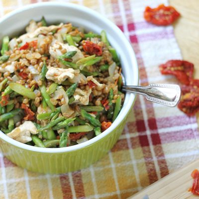Chicken, Asparagus, Sun-dried Tomato and Wheat Berries Recipe