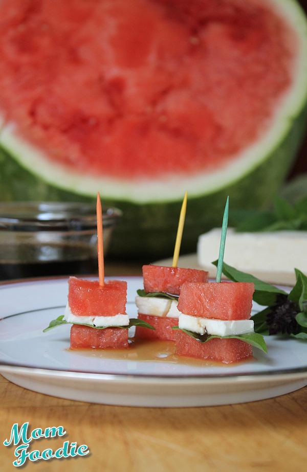 watermelon basil feta appetizer bites