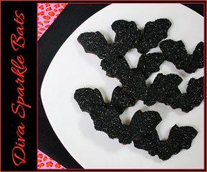 Diva Black Sparkle Bat Cookies