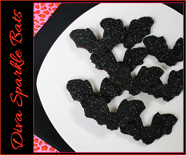 Diva Black Sparkle Bat Cookies