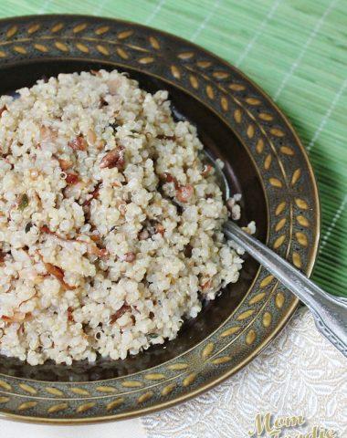 prosciutto garlic pecan quinoa