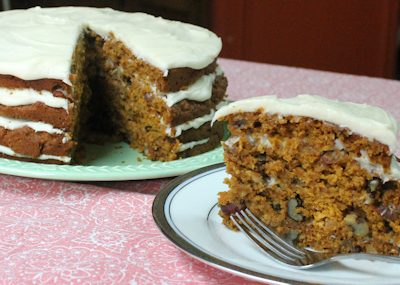 Pumpkin-Oatmeal Carrot Cake with Easy Cream Cheese Frosting