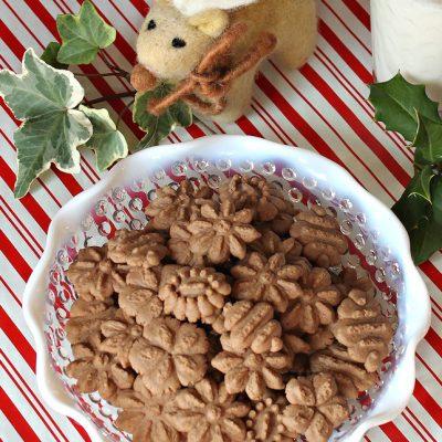 Chocolate Peanut Butter Spritz Cookies