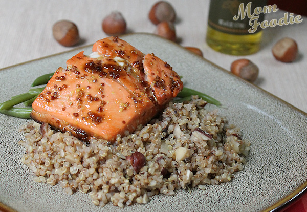 Maple Mustard Salmon over Hazelnnut Quinoa