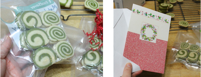 green tea cookies being packed for cookie swap