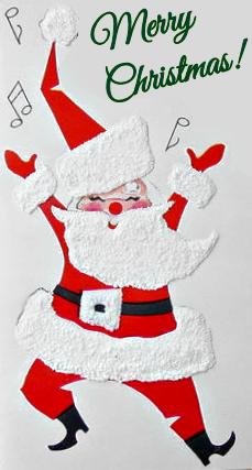 happy vintage santa singing