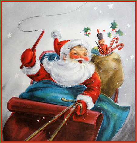 Santa in Sleigh Vintage Christmas