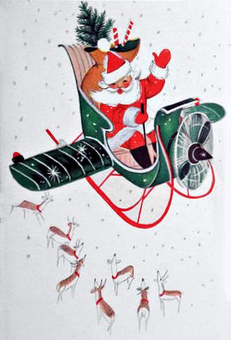 Vintage Santa in Airplane Sleigh