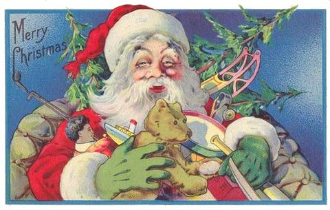 vintage santa with toys