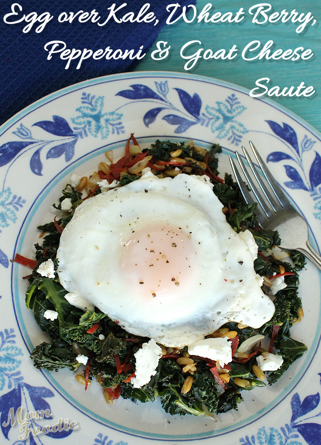 egg kale goat cheese pepperoni wheat berry