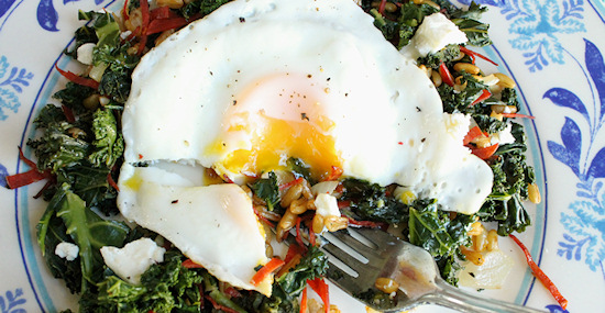 kale egg goat cheese feature