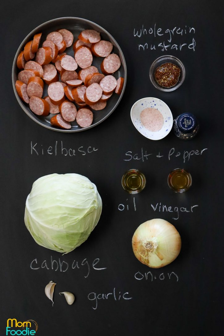 Kielbasa and cabbage skillet ingredients