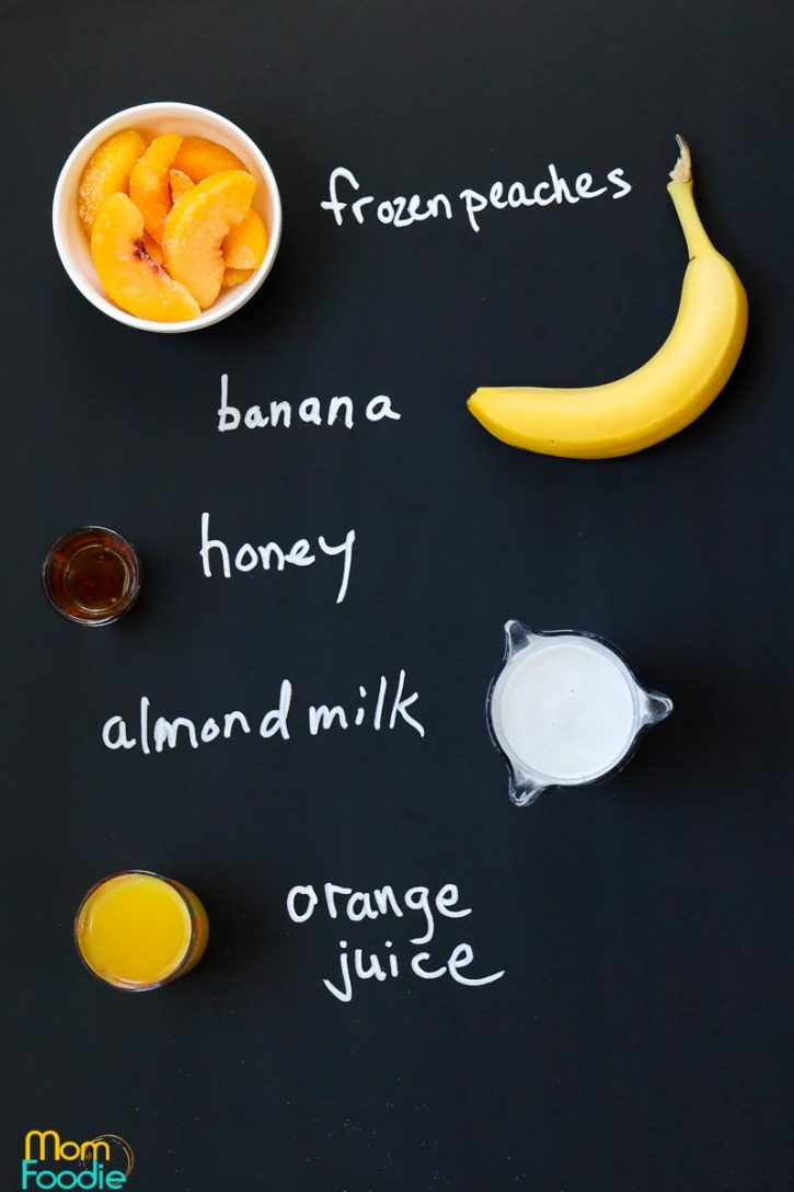 ingredients for peach banana smoothie