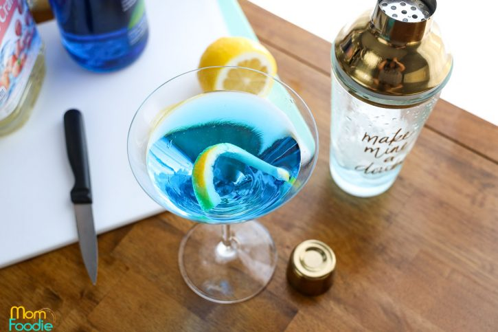 lemon twist in blue drink