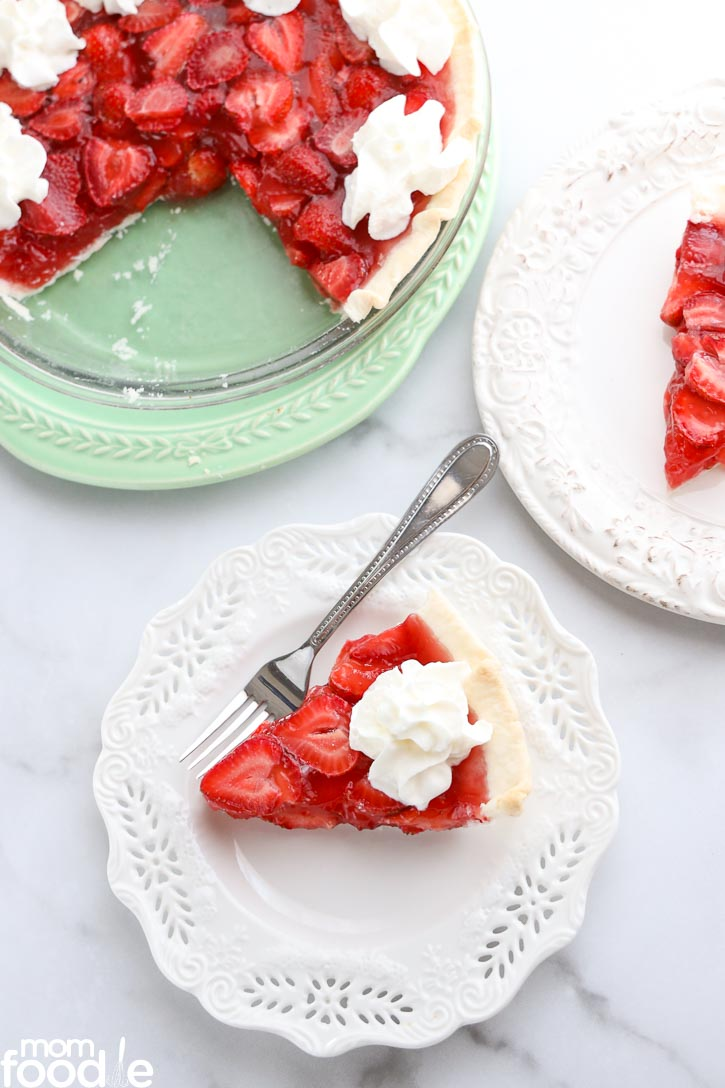 Strawberry Pie sliced on white plate