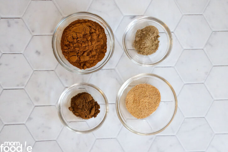 ingredients for apple pie spice mix.