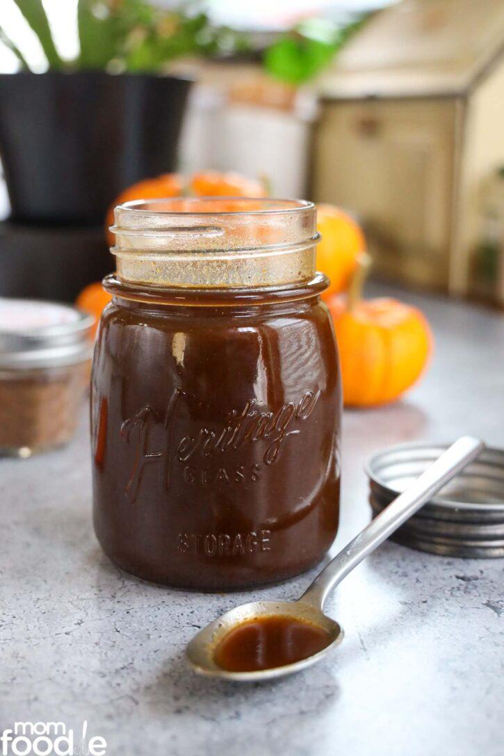 homemade pumpkin spice syrup in mason jar