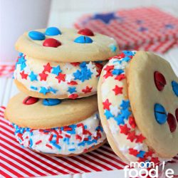 4th of july red white and blue ice cream sandwiches