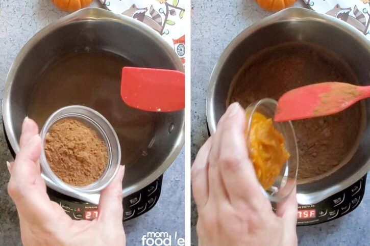 Adding pumpkin pie spice and canned pumpkin to the syrup.