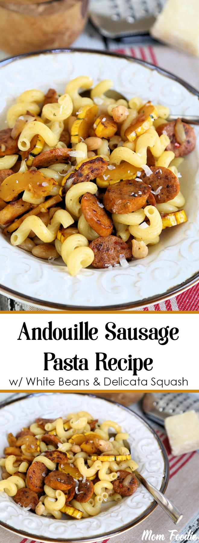 Andouille Sausage Pasta Recipe with White Beans & Delicata Squash