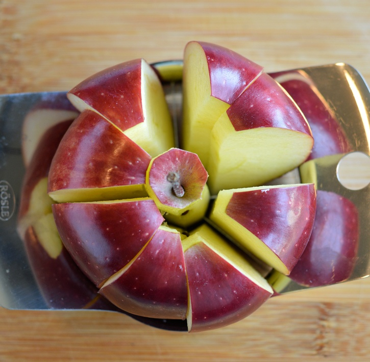 Apple Peanut butter teeth - coring apple