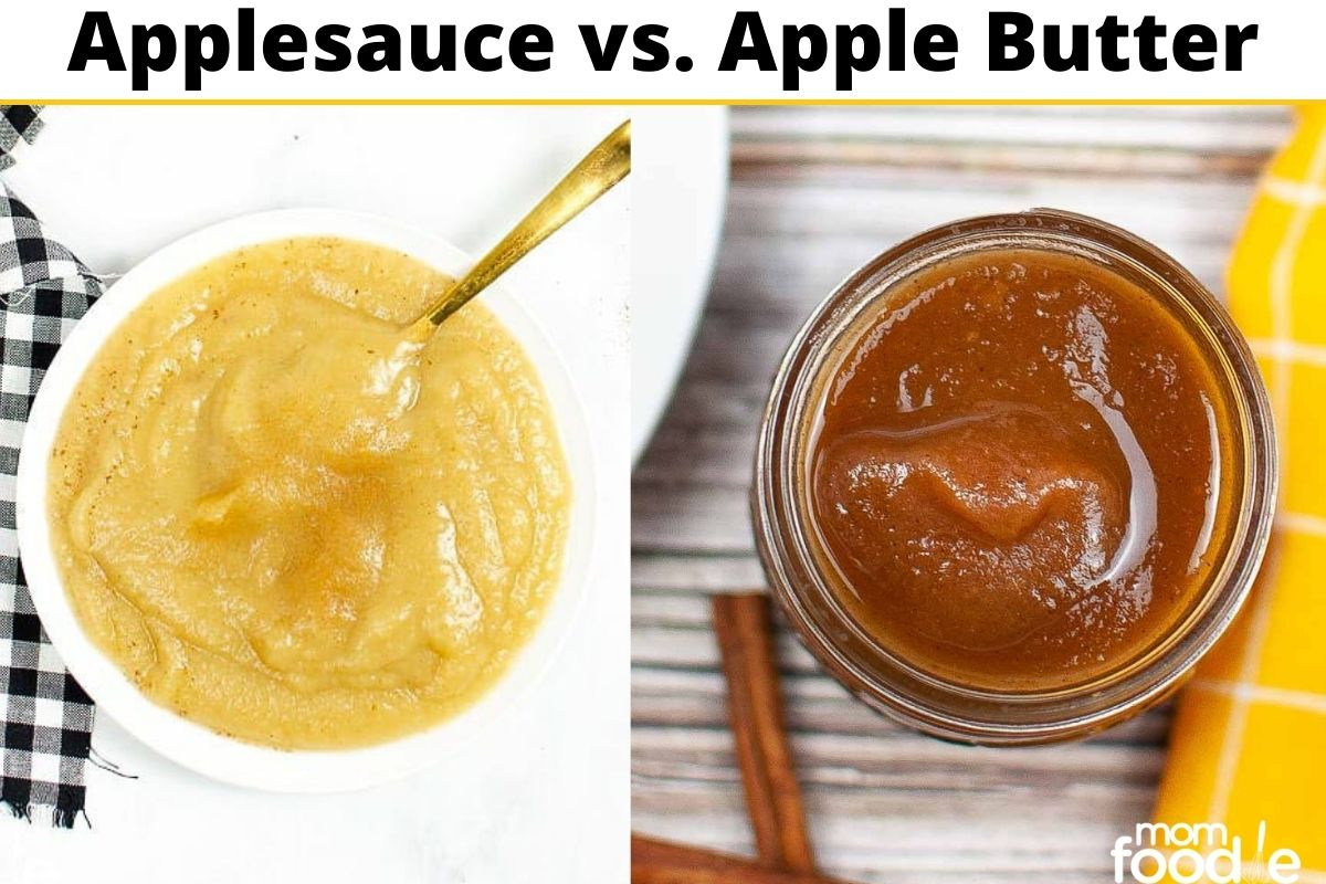 Applesauce vs Apple Butter, apple sauce is lighter and chunkier, while apple butter is darker and creamier.
