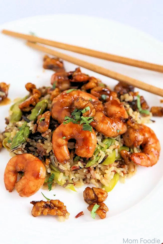 Asian Lemon Honey Glazed Shrimp with Walnuts