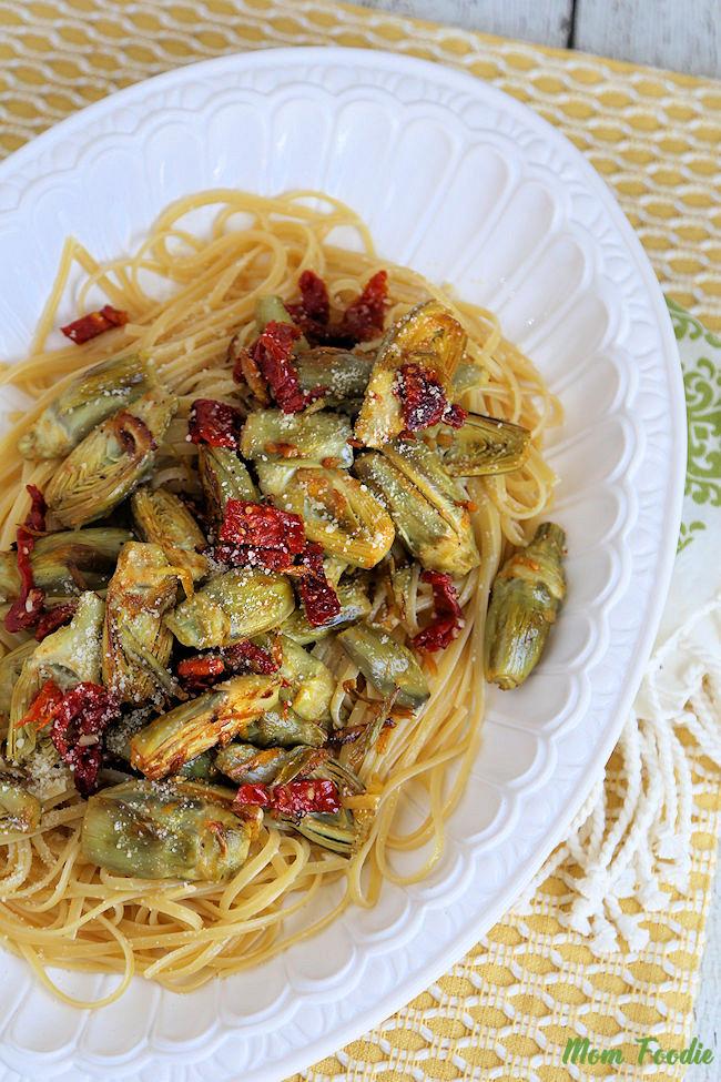 Baby Artichoke Sun Dried Tomato Pasta