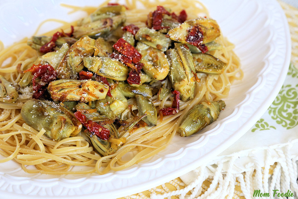Baby Artichoke Recipe over linguine with garlic and lemon