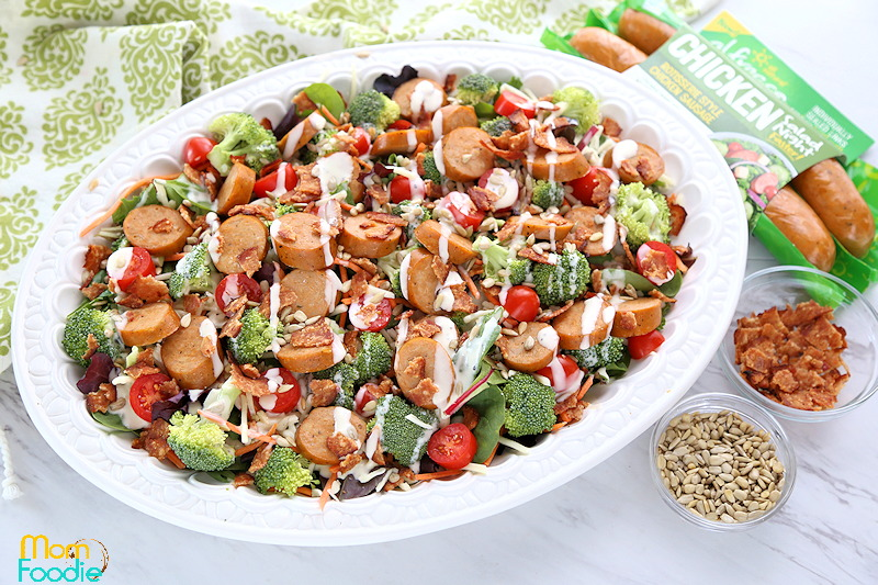 Bacon ranch salad with chicken sausage