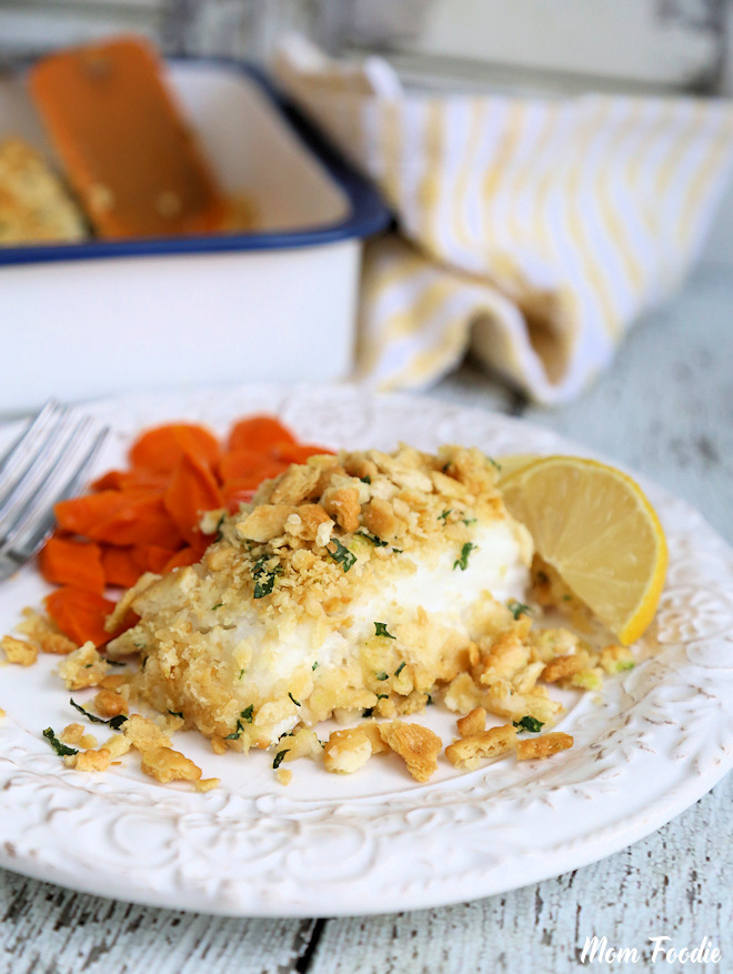 Baked Cod with Cracker Topping