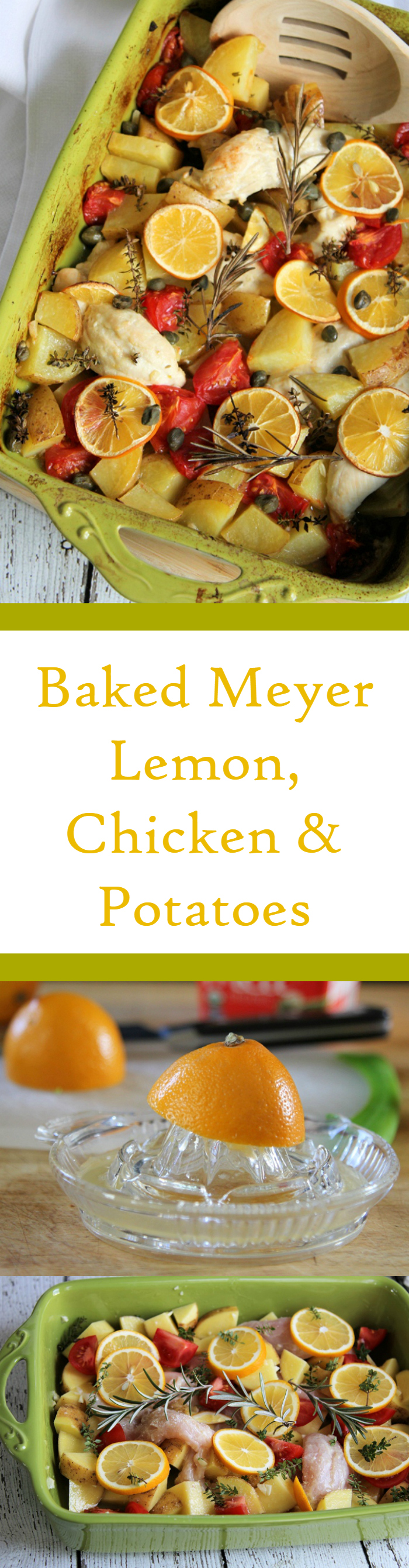 Baked Meyer Lemon Chicken & Potatoes. An easy meal bursting with flavor. #chicken #meyerlemon #casserole