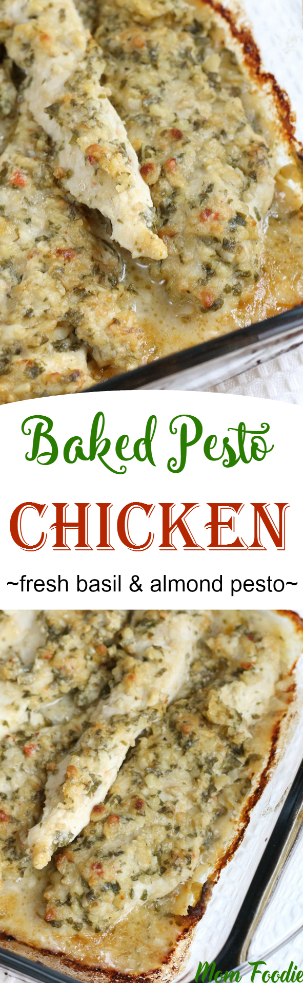 Baked Basil Almond Pesto Chicken