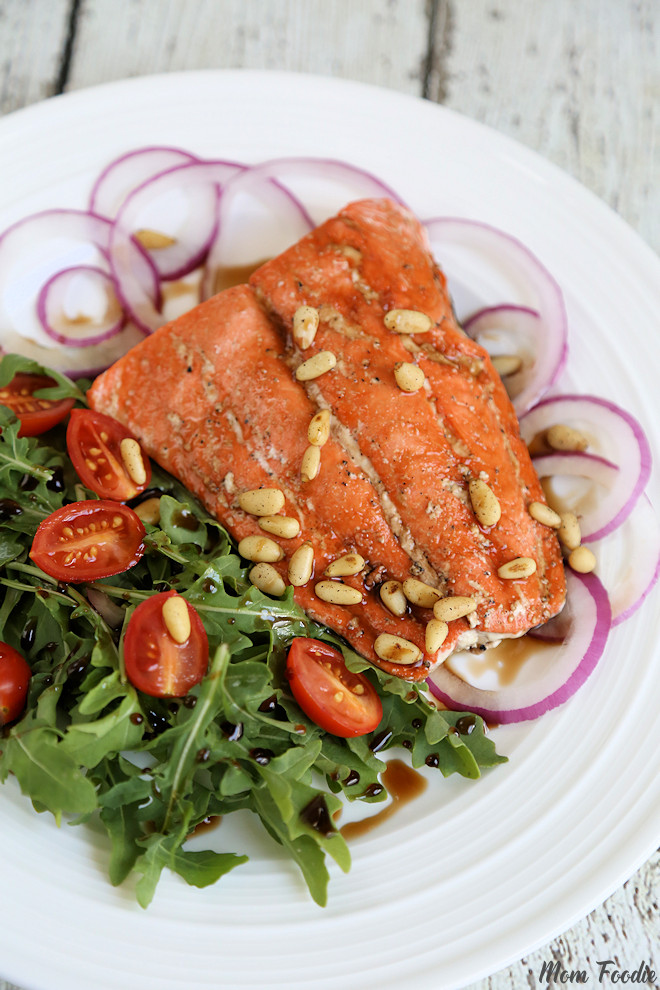 Balsamic Grilled Salmon with Arugula Salad and Toasted Pine Nuts