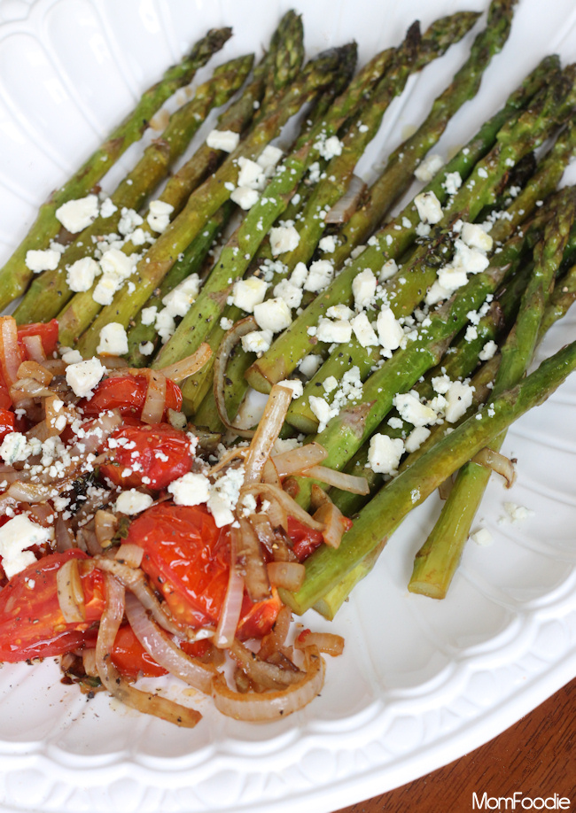 Balsamic Roasted Asparagus &Tomato with Blue Cheese